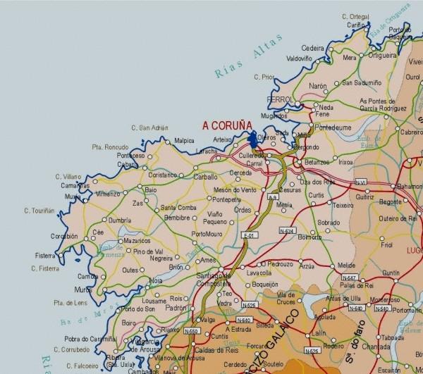 Mapa grande de A Coruña