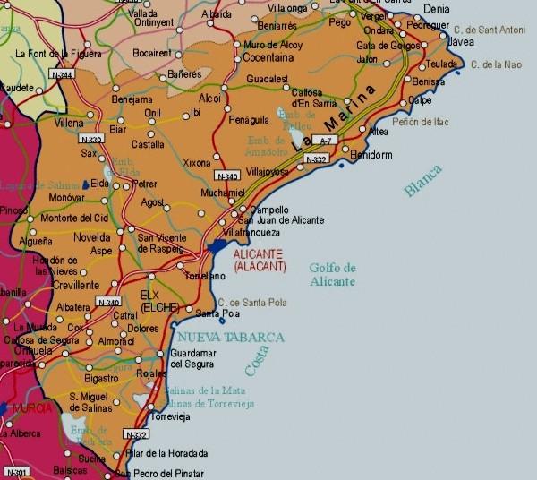 Mapa grande de Alicante
