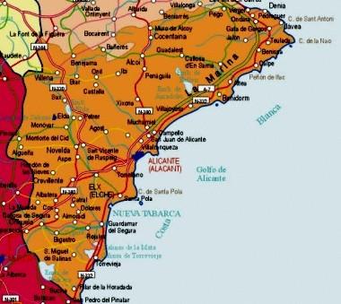 Mapa pequeño de Alicante