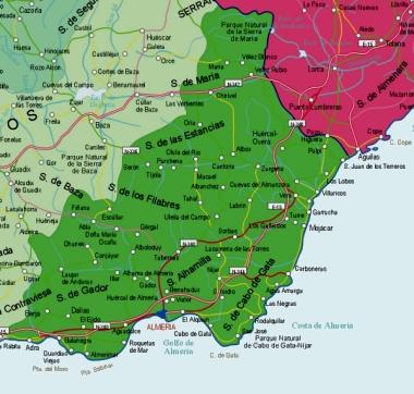 Mapa pequeño de Almería