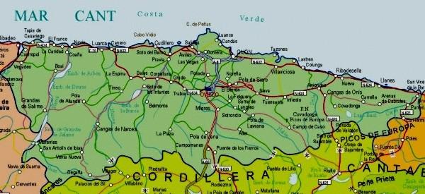 Mapa grande de Asturias