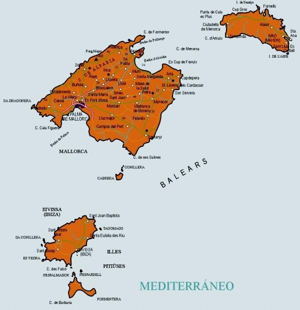 Mapa grande de Baleares