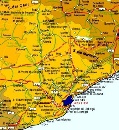 Mapa pequeño de Barcelona