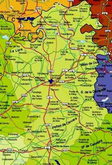 Mapa pequeño de Burgos