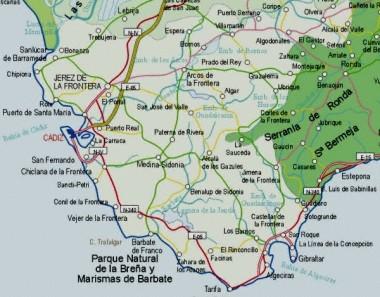 Mapa pequeño de Cádiz
