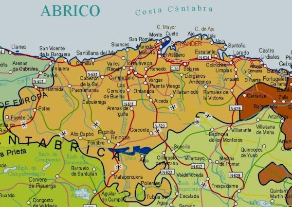 Mapa grande de Cantabria