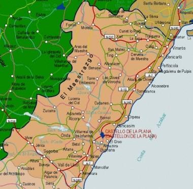 Mapa pequeño de Castellón