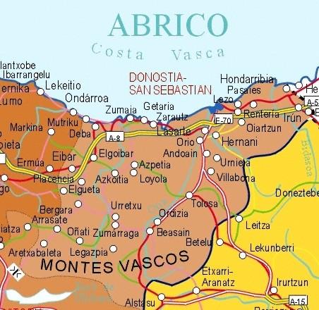 Mapa grande de Guipúzcoa