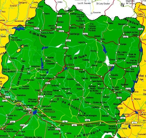 Mapa grande de Huesca