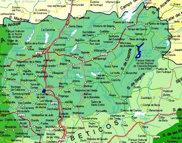 Mapa grande de Jaen