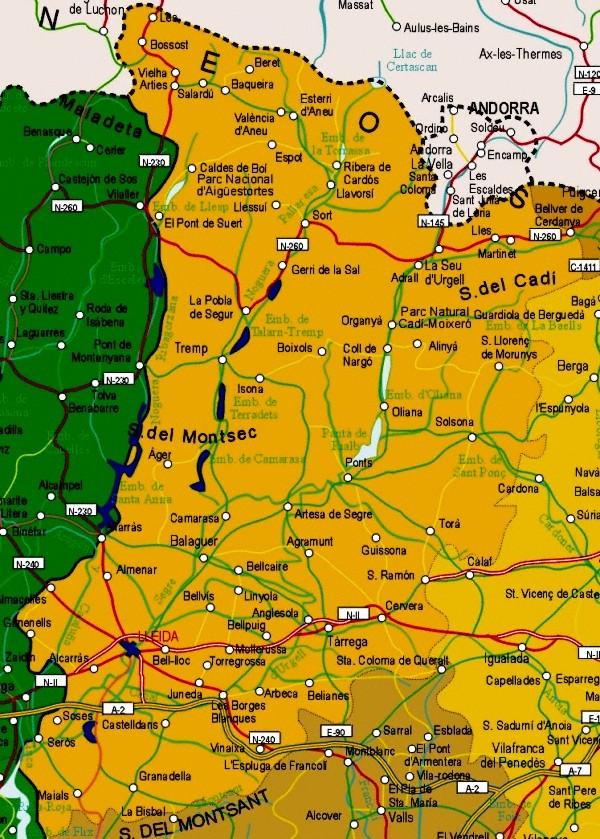 Mapa grande de Lleida