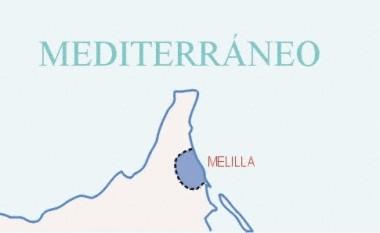 Mapa pequeño de Melilla