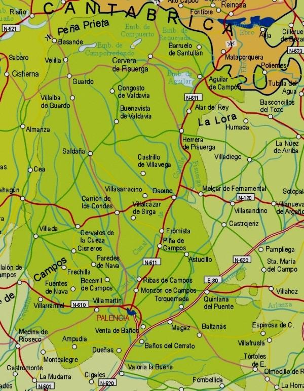 Mapa grande de Palencia