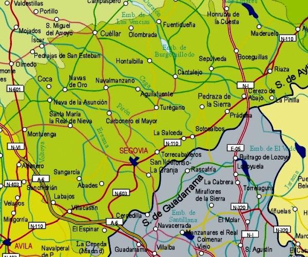 Mapa grande de Segovia