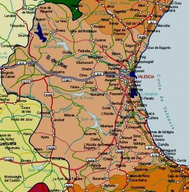 Mapa pequeño de Valencia