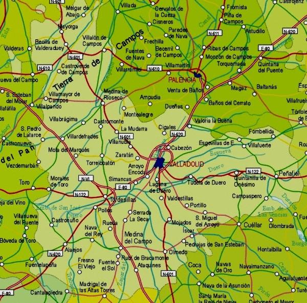Mapa grande de Valladolid