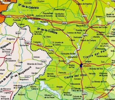 Mapa pequeño de Zamora